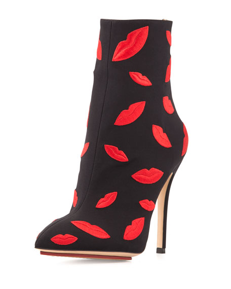 Kiss Me Betsy Ankle Bootie, Black/Red