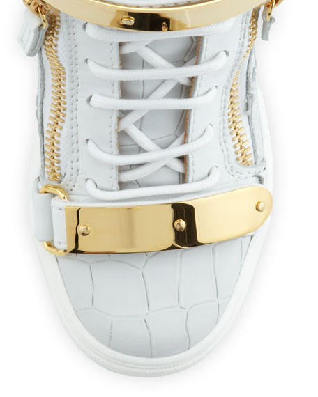 Croc-Embossed Metal-Strap Wedge Sneaker, White