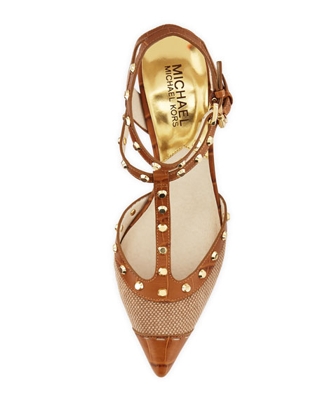 Jade Studded T-Strap Sandal