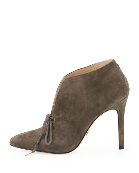 Camille Kid Suede Dress Bootie, Charcoal