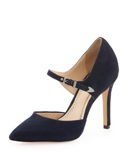 Pour la Victoire Cecilia Kid Suede Dress Pump, Navy