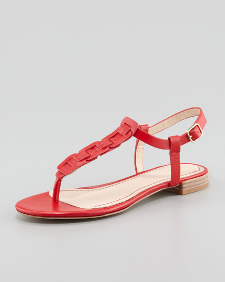 Enora Woven-T-Strap Thong Sandal, Red
