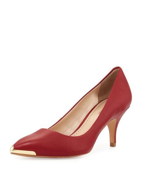 Iliah Metal-Tip Pointy-Toe Mid-Heel Pump, Red