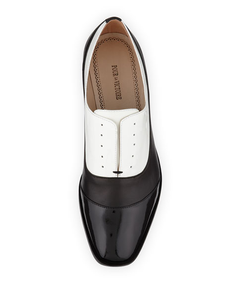 Jemmy Cap-Toe Oxford, Black/White
