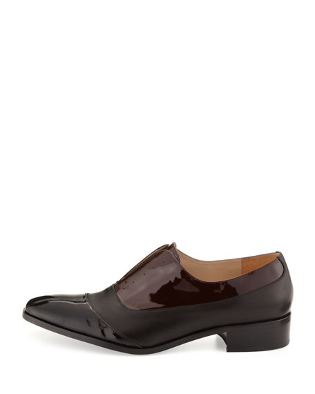 Jemmy Patent & Matte Dress Oxford, Black/Burgundy
