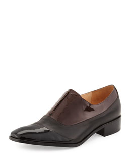 Pour la Victoire Jemmy Patent & Matte Dress Oxford, Black/Burgundy