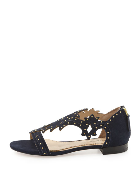 Studded Suede Cutout Sandal, Navy