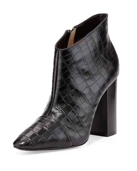 Lim Croc-Embossed Bootie, Black