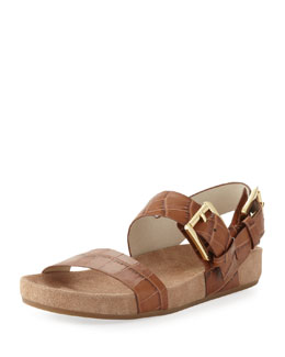 MICHAEL Michael Kors  Sawyer Crocodile-Embossed Sandal
