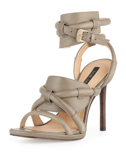Rachel Zoe Monica Piped Ankle-Wrap Sandal