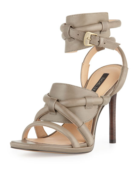 Monica Piped Ankle-Wrap Sandal