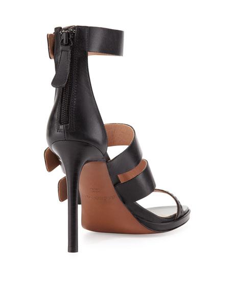 Macey Triple-Buckle Strap Sandal, Black