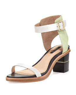 Rachel Zoe Colbie Colorblock City Sandal, Mint