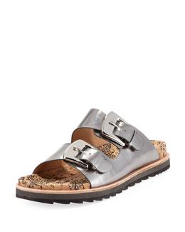 Rachel Zoe Fawn Metallic Buckle-Strap Sandal, Silver
