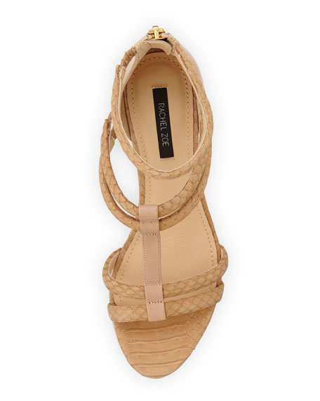 Nancy Snakeskin Wedge Sandal, Natural