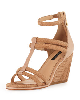Rachel Zoe Nancy Snakeskin Wedge Sandal, Natural