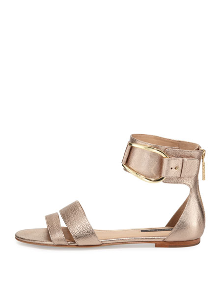 Gabi Metallic Ankle-Strap Sandal, Rose Gold