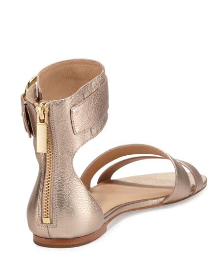 Gabi Metallic Ankle-Strap Sandal, Rose Gold