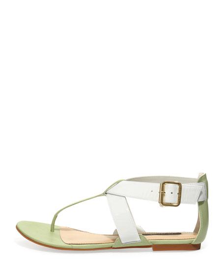 Gela Patent Flat Thong Sandal, Mint