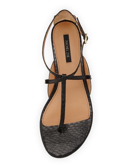 Gwen Snakeskin Thong Sandal, Black