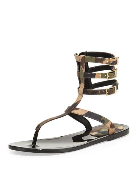 Cecille Camo-Print Gladiator Sandal