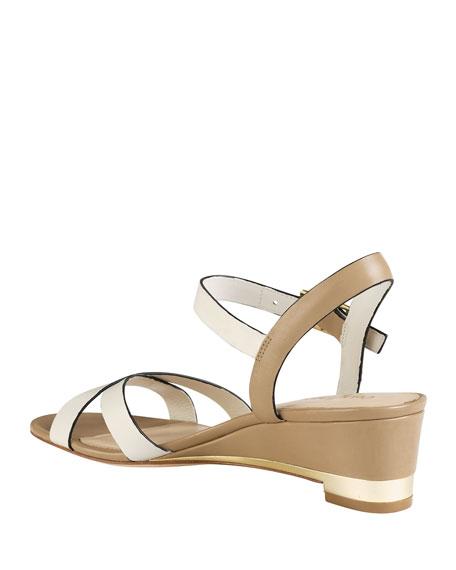 Melrose Low-Wedge Sandal, Ivory/Sandstone