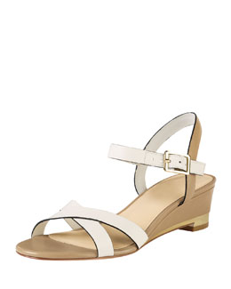 Cole Haan Melrose Low-Wedge Sandal, Ivory/Sandstone