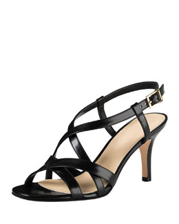 Cole Haan Barlett Air Crisscross Leather Sandal, Black
