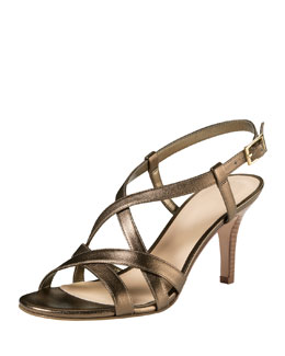 Cole Haan Barlett Crisscross Leather Sandal, Gold Metallic