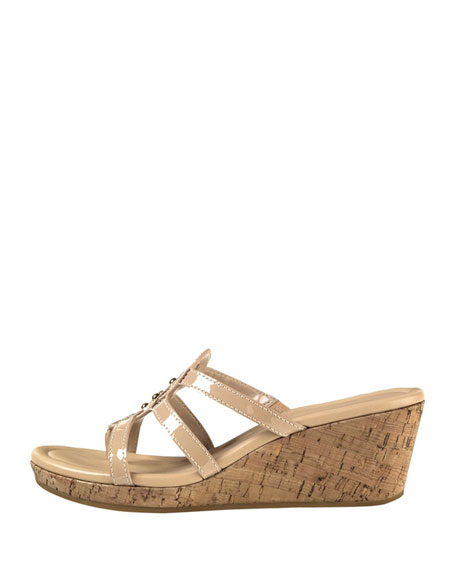 Shayla Patent Thong Wedge Sandal, Sandstone