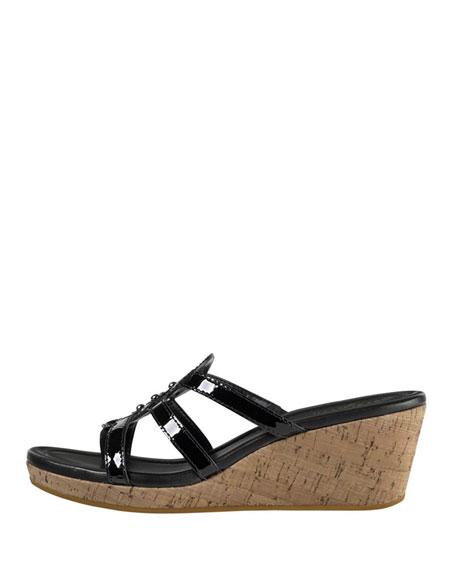 Shayla Patent Thong Wedge Sandal, Black