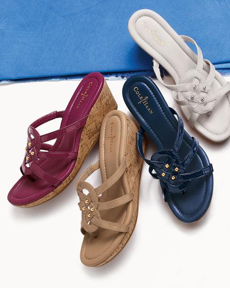 Shayla Patent Thong Wedge Sandal, Ivory