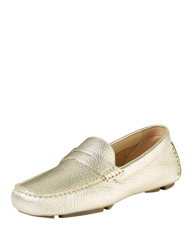 Cole Haan Trillby Metallic Leather Driver, Soft Gold