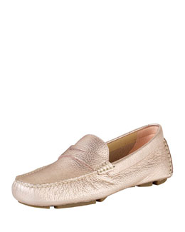 Cole Haan Collection Trillby Metallic Leather Driver, Soft Gold