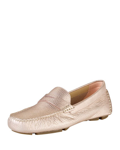 Cole Haan Trillby Metallic Leather Driver, Rose Gold