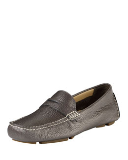 Cole Haan Collection Trillby Metallic Leather Driver, Gunsmoke