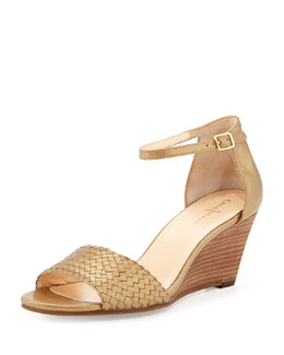 Cole Haan Rosalin Woven Wedge Sandal, Gold