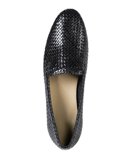 Sabrina Woven Leather Loafer, Black