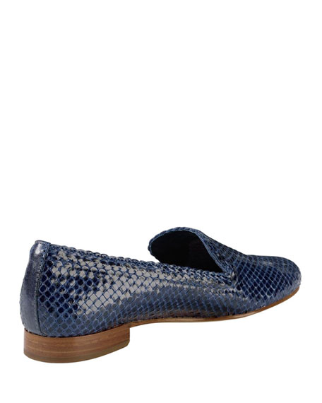 Sabrina Woven Leather Loafer, Blue