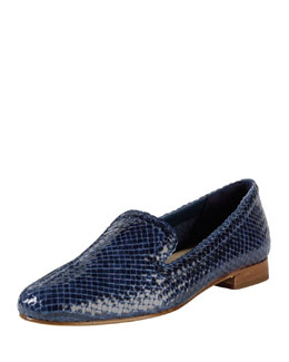 Cole Haan Sabrina Woven Leather Loafer, Blue