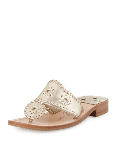 Jack Rogers Hamptons Whipstitch Thong Sandal, Platinum