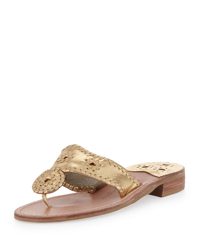 Jack Rogers Hamptons Whipstitch Thong Sandal, Gold