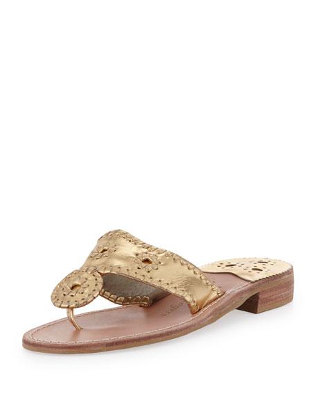 Jack Rogers Hamptons Whipstitch Thong Sandal, Gold