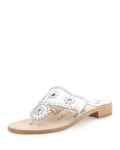 Jack Rogers Hamptons Whipstitch Thong Sandal, Silver