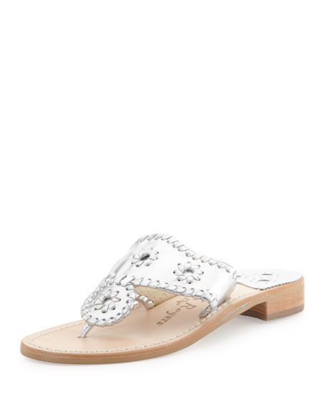 Hamptons Whipstitch Thong Sandal, Silver
