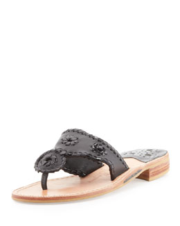 Jack Rogers Palm Beach Whipstitch Thong Sandal, Black