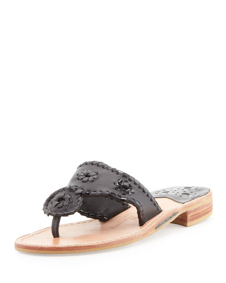 Palm Beach Whipstitch Thong Sandal, Black