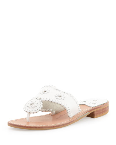 Jack Rogers Palm Beach Whipstitch Thong Sandal, White