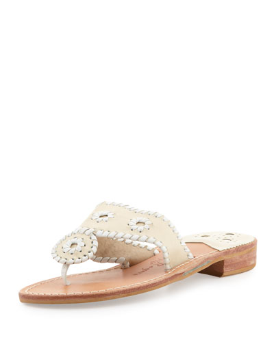 Jack Rogers Palm Beach Whipstitch Thong Sandal, Bone/White