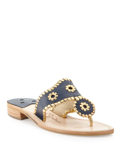 Jack Rogers Nantucket Whipstitch Thong Sandal, Midnight/Gold